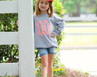 Youth Monogram Sweatshirt Pullover Gitter - Monogram - Personalized - Girls or Boys