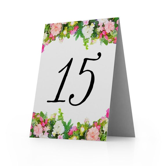 Table Number, Wedding, Dinner, Bridal Shower, Luncheon, Tea Party, Tent Table Number Cards - Pink White Blooms, 3.5 x 4.75 Inch, Set of 5
