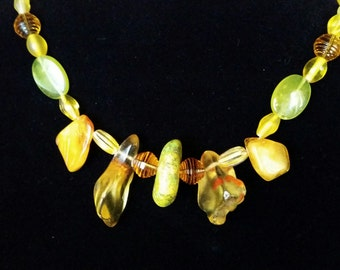 TRENDING GIFTS - Lime Green Turquoise, Amber, Golden Agate and Yellow Quartz Necklace