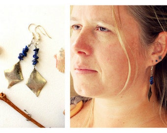 Earrings bohemian  natural stones / Lapislazuli