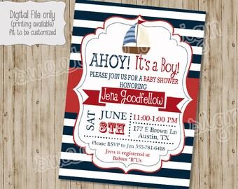 Nautical Baby Shower Invitation - Nautical Baby Shower Invitation BOY OR GIRL, Nautical Baby Shower