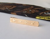 Vintage Tie Bar Math Symbols Gold Tone Tie Clip Tie Bar Vintage Guy Stuff Gift For Math Teacher 1990s