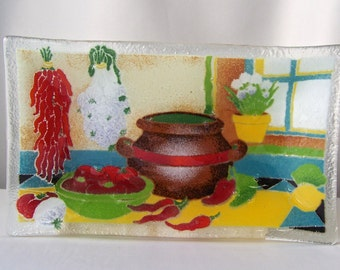 Vintage Art Glass Fusion Plate Southwest Decor Peggy Karr Fused Glass Serving Plate Wall Hanging 1990s