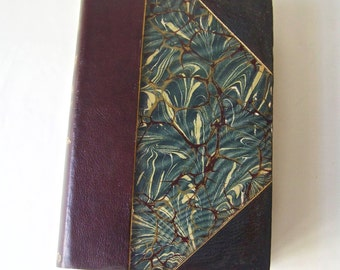 Antique Book Conquest Of Granada By Washington Irving Half Leather Marbled Cover ca 1910-1937