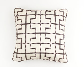 ON SALE Celerie Kemble/Schumacher Bleecker in Bear Brown (On Both Sides) Pillows with Self Welting (18 X 18)
