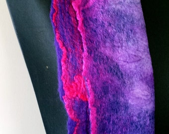 Purple felted fine merino wool scarf with purple, pink & lilac mulberry silk surface decoration 'Delphinium'