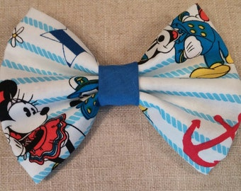 Mickey and Minnie inspired nautical print bow