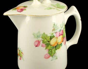 Antique Edwin M Knowles China Semi Vitreous Syrup Pitcher Gooseberries w Lid