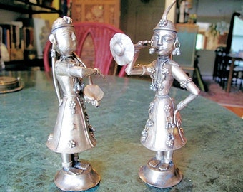 Lady Musician Figurines, Silver Plated,  Vintage Pair from Old Delhi