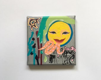 "Hedonistic Me / Acrylic Painting on 5"" by 5"" Stretched Canvas / Small Canvas Painting"