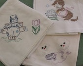 Vintage Towels, Dish Towels, Embroidered 3 Pieces Cotton and Flour Sack  Towels
