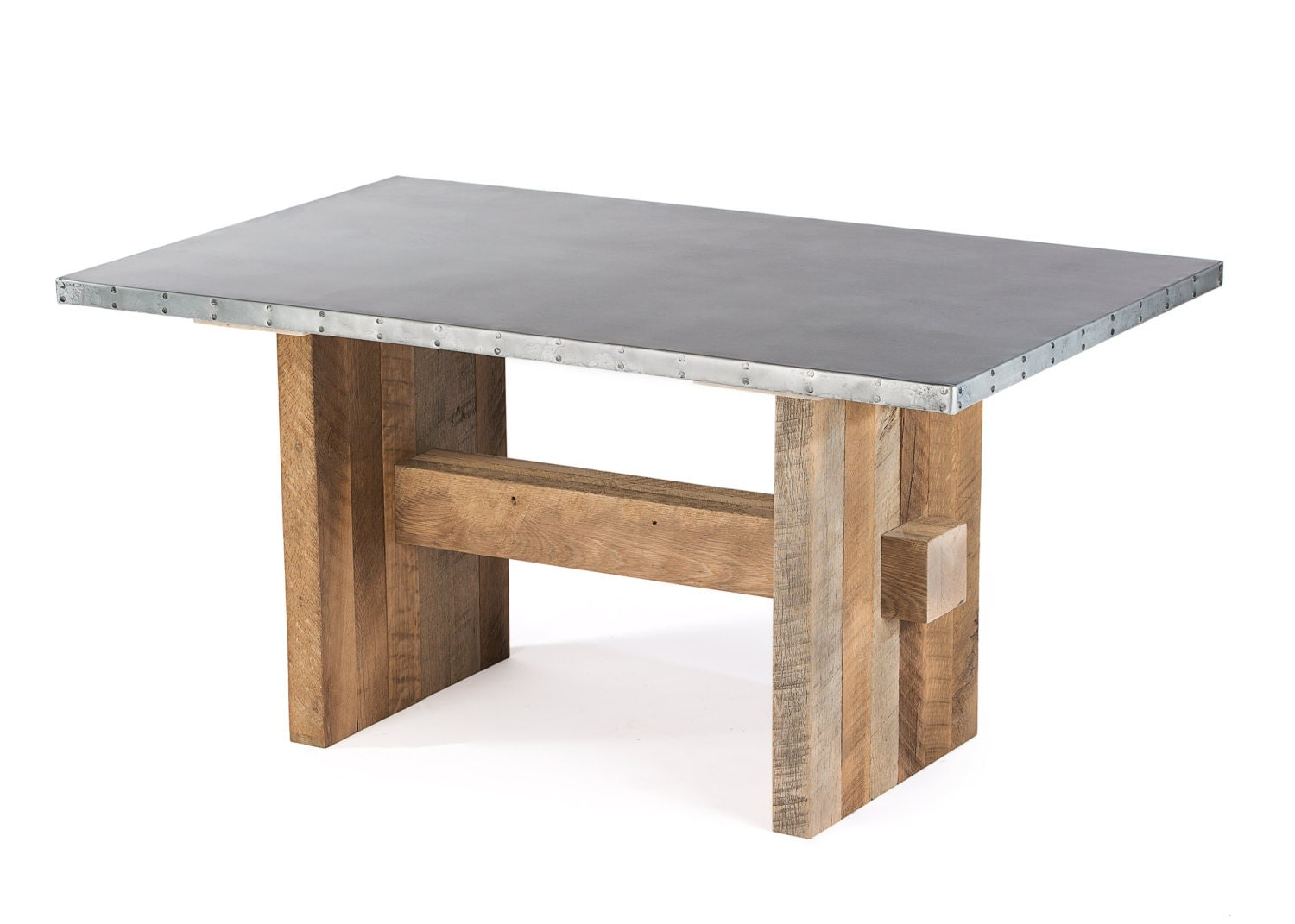Zinc table zinc dining table redford zinc top dining table for Table exterieur zinc