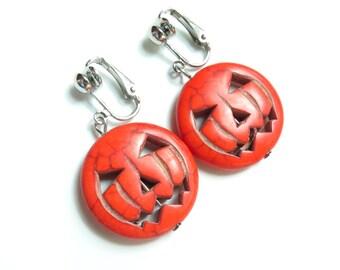 Halloween Pumpkin Dangle Clip On Earrings - Non-Pierced Ears