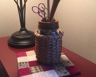 Rug hooking tool storage basket, scissor keep, primitive decor, cross stitch storage, tool caddy, flower basket