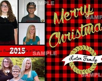 Photo Christmas Card, 4 photos, Merry Christmas, Gold glitter, buffalo check, buffalo plaid red black