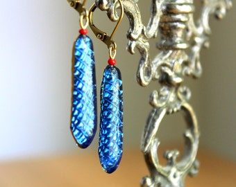 Blue Reflector Earrings - Vintage Fun Cobalt and Red Arrow Shaped Glass Drops