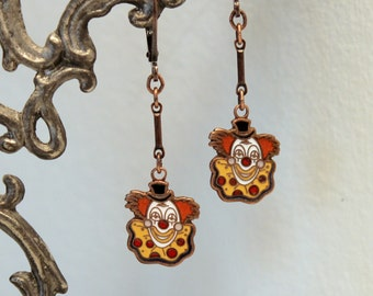 Clown Earrings - Vintage Enameled Clown Face Dangles - Deer Approved - Old Enamel Charms
