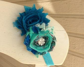 Aqua shabby flower headband, baby headband, newborn headband, girls headband