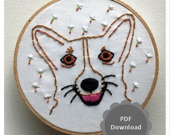 Corgi Embroidery Pattern Downloadable Dog Embroidery Corgi DIY Art Dog PDF Embroidery Pattern