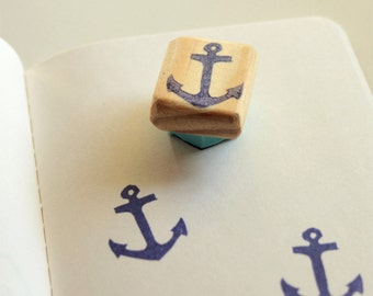 Anchor rubber stamp, hand carved, wood mounted