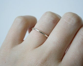 Plain round sterling silver band - sterling silver stacking ring - sterling silver wedding band - simple silver ring - silver midi ring