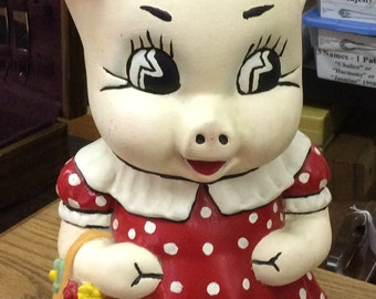 "Ceramc Hand Painted ""PIGGY"" Piggy Penny Bank"