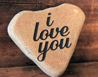 Engraved Natural Heart Shaped River Stone - I Love You