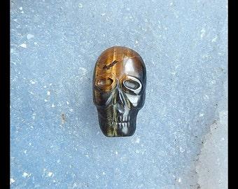 Handmade Carved Tiger's Eye Skull Cabochon,Handmade Jewelry Design,24x14x8mm,5.1g(a0611)