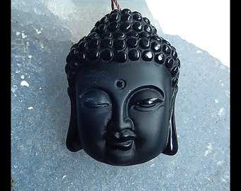 Carved Obsidian Buddha Head Gemstone Pendant Bead,34x25x13mm,16.0g