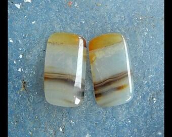 Stripe Agate Gemstone Cabochon Pair,20x11x3mm,2.6g
