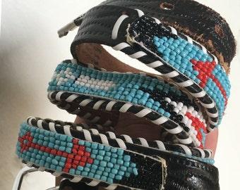 Beaded Belt, Indian Beaded Belt, Leather Belt, Vintage Belt, Beaded Belt, Western Belt
