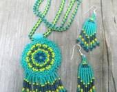 Beaded Mandala Necklace and Earrings Set, Regalia, Turquoise, Native American Inspired