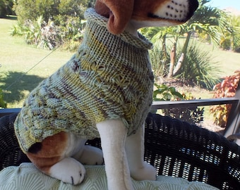 Dog Sweater Medium 15 inches long Merino Wool