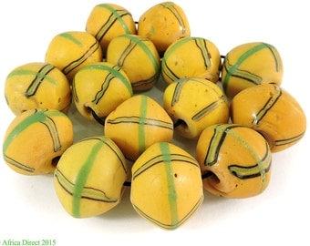 15 King Venetian Trade Beads Yellow Biconal Africa 101284