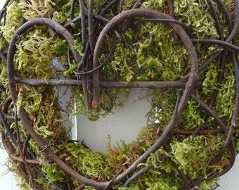 Heart Wreath  Wedding Wreath  Moss Wreath  Ratan Wreath  Rustic Heart Wreath  Woodland Wedding Decor  Door Wreath  Valentine Wreath