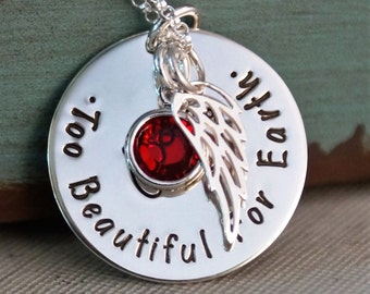 Miscarriage / Remembrance - Memorial Jewelry / Personalized Sterling Silver Mommy Necklace / Too Beautiful for Earth