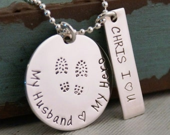 Military Wife Necklace / Police Wife Necklace / Hand Stamped Sterling Silver Jewelry / My Husband, My Hero / Police Jewelry