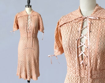 RARE 1930s Dress / 30s Peachy Pink Cotton Lace Dress / LACE - UP Bodice and Sleeves!!