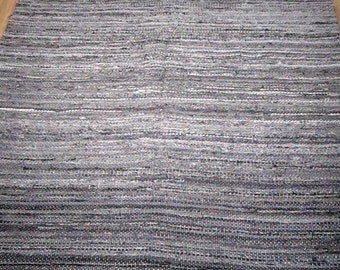Large Handwoven rag rug - 8.85' x 5.03'- dark grey rock, salt & pepper, ready for sale