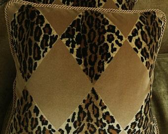 Nancy Corzine Velvet Fabric Custom Designer Throw Pillows Harlequin Leopard Camel Cognac Black Beige Set of 2 New