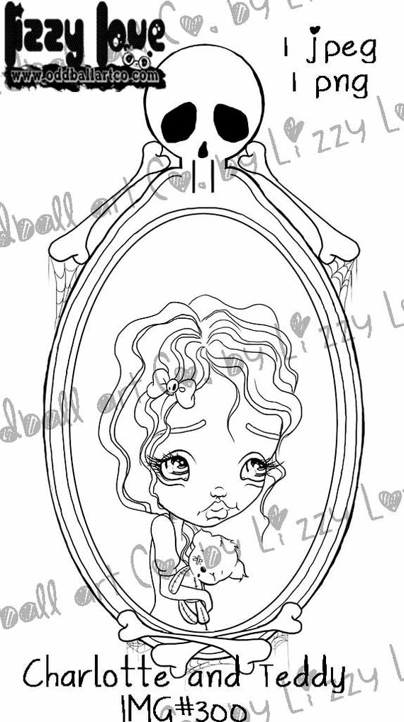 INSTANT DOWNLOAD Digi Stamp Cute Big Eye Girl in Mirror Holding Teddy Snow White Tribute -  Charlotte Image No.300 by Lizzy Love