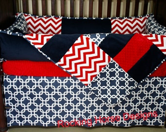 Batter Up Red and Navy Crib Bedding