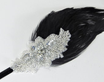 Great Gatsby Bachelorette Party, Silver Gatsby Headband, Black Feather Headband, 20s Headpiece, Flapper Headband, Roaring 20s Wedding Party