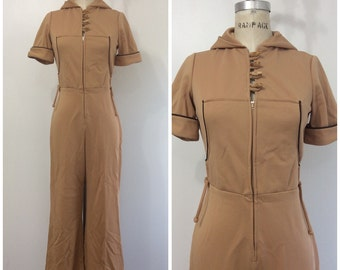 1970s Hooded Jumpsuit 70s Khaki Tan Hood Toggles