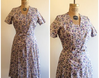 1940s 1950s Floral Dress 40s 50s Purple Pink Floral House Dress