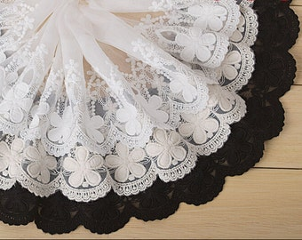 "5 yard 15cm 5.9"" wide black/ivory/beige mesh tulle gauze fabric embroidered tapes lace trim ribbon L1K222 free ship"