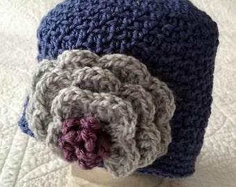 Crochet Hat, Beanie with Flower, Cloche hat