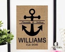 30% OFF SALE Personalized Anchor Monogram Burlap Print Nautical Wedding Gift .. Housewarming Gift .. Anniversary Gift .. Bridal Shower Gift