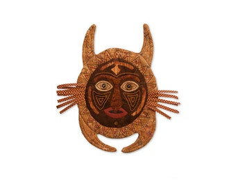 """CAT...QUILTED MASK— Wall Hanging — approx. 14"""" x 14"""" (including the whiskers)"""
