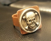Extra Large Mens Skull Crossbones Ring Hammered Copper & Silver Alloy Size 14 Old World Style